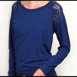 Pink brand, light weight top with lace accent
